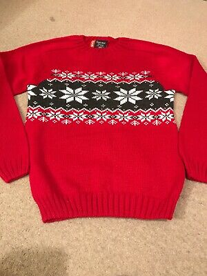 Vintage 80s Sweater Shop Red Nordic Christmas Jumper Age 10-12