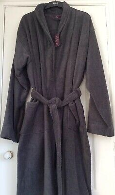 BNWT Marks & Spencer Luxury SuperSoft Cotton Grey Dressing Gown RRP£39 Size XXL