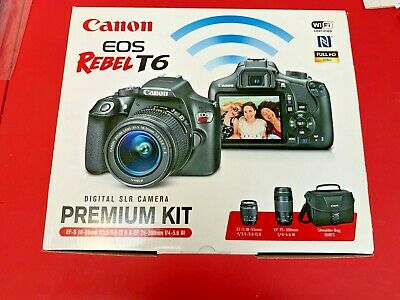 Canon EOS Rebel T6 DSLR Camera with EF-S 18-55mm + EF 75-300mm Lenses NEW!