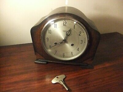 Smiths Enfield Mantle Clock Art Deco Chimes on hour & half. Smiths Key, tested.