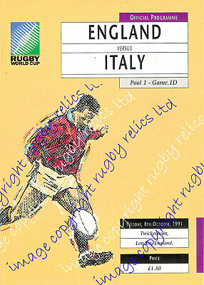ENGLAND v ITALY RUGBY WORLD CUP 08th OCTOBER 1991 PROGRAMME
