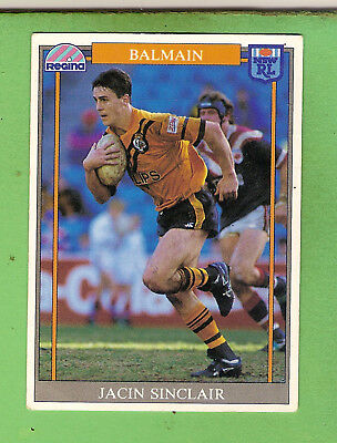 1993 Rugby  League Card #158  Jacin Sinclair , Balmain  Tigers