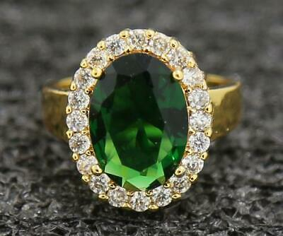 Vintage 4.47ct Natural Emerald 14KT Solid Yellow Gold Generous Men Bands Ring 7#