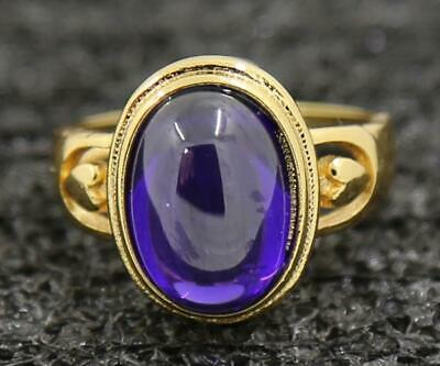 4.36ct Natural Amethyst 14KT Solid Yellow Gold Mens Wedding Bands Ring Size 7#