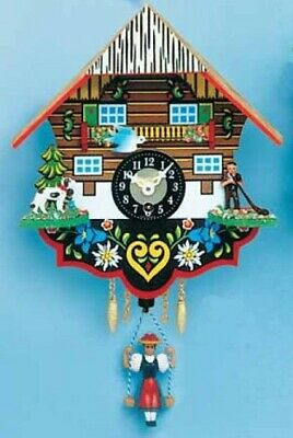 Swinging Girl Doll Quartz Movement Wood German Clock with Alphorn Player Germany