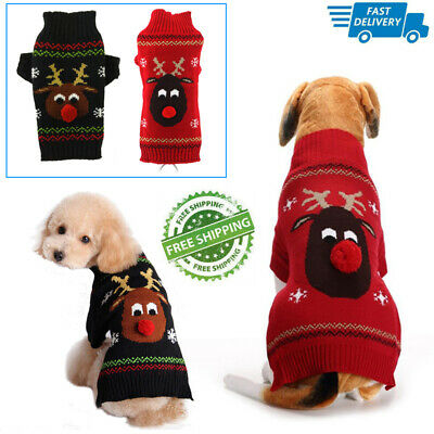 UK Small Large Christmas Dog Sweater Clothes Cute Knitted Jumper Apparel For Dog