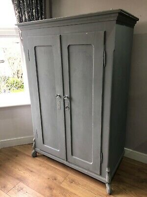 Lovely, Painted Grey, Vintage, Wooden Double Wardrobe