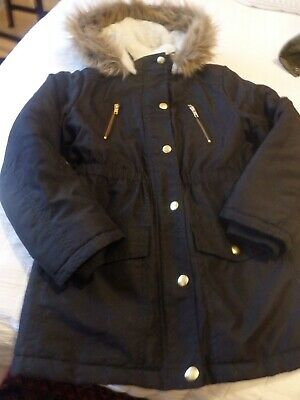 Girls coat age 9 - 10 years warm winter black hooded coat George