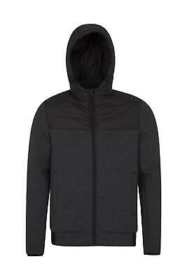 Mountain Warehouse Ascent Mens Padded Hoodie Microfibre Zip Pockets - DWR