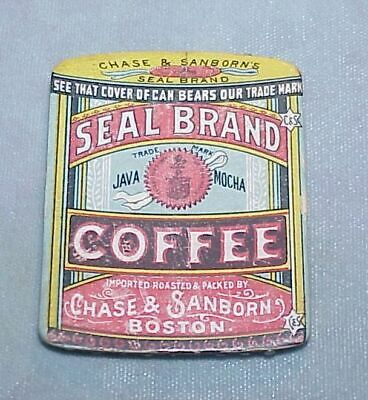 C1897 Worlds Fair  advertising needle case SEAL BRAND COFFEE Chase & Sanborn