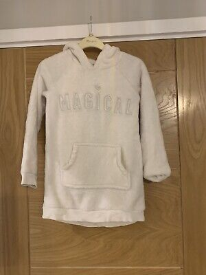 Girls White Fleece Hoodie - Unicorn Design From H&M - Age 6-8 Years