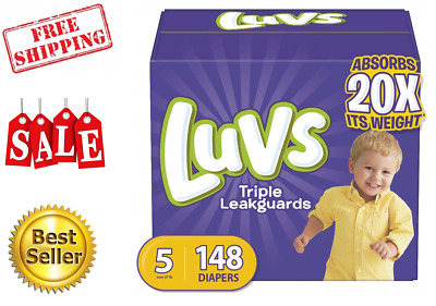 Luvs Ultra Leakguards Disposable Baby Diapers, Size 5,148 Count ONE MONTH SUPPLY