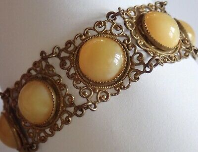 Antique Art Deco Brass Filigree Yellow Czech Glass Bracelet
