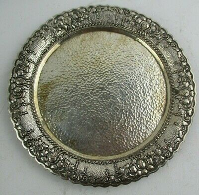 Vintage Yogya 800 Silver Indonesian Tray w/ Hammered & Repousse Detailing 245gr