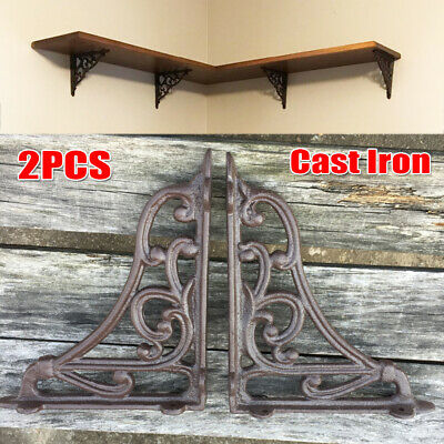2pcs Antique Style Cast Iron Brackets Garden Braces Support Shelf Bracket Brown