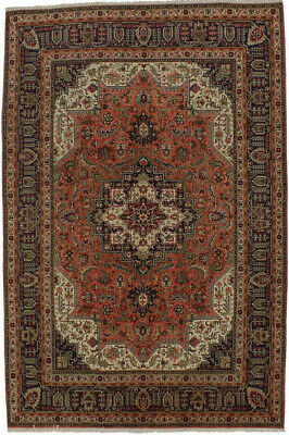 Semi Antique Geometric Bittersweet Red 6X10 Hand Knotted Wool Oriental Area Rug