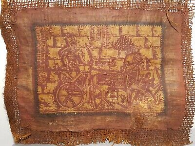Rare Antique Ancient Egyptian Papyrus king Ramses Chariot war Lion 1279–1213 BC
