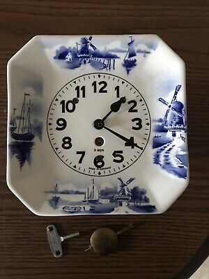 Delft Kitchen Clock, Working great, with Brass Pendulum and Key