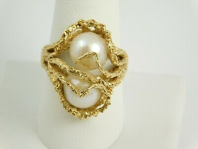 Estate 14K Yellow Gold Detailed 9.5Mm Pearl Ring 10.0 Grams Size 9.75