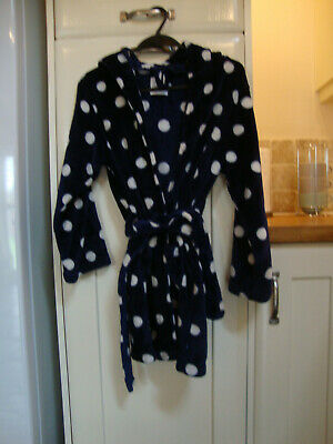 New Look 915 Girls Navy / white Spotty Dressing Gown age 10-11 years vgc