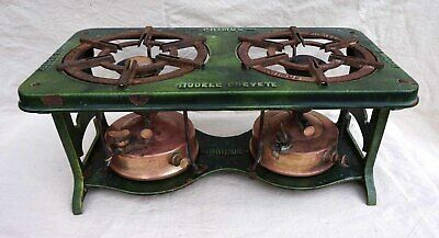 Primus Keorsene Stove 2 Burner Model 107 Green Enamel Cast Iron 1932