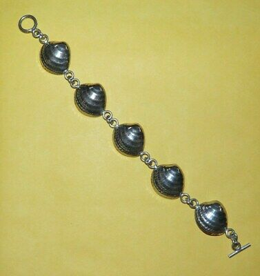 """~VINTAGE~MEXICO~""""925""""~STERLING~SILVER~""""SEASHELL""""~TOGGLE~CLASP~8""""~BRACELET~18.5g~"""