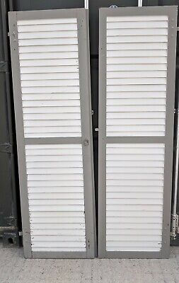 Large Pair Shabby Painted Window Shutters 207cm x 61cm, Just Back from France