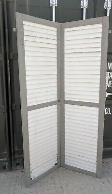 Back From France: Large Pair Painted Window Shutters 207cm x 61cm, Shabby Paint