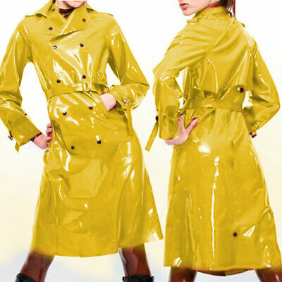 Latex Rubber Anzug Mantel Gummi Long Trench Coat Ganzanzug Yellow button S-XXL