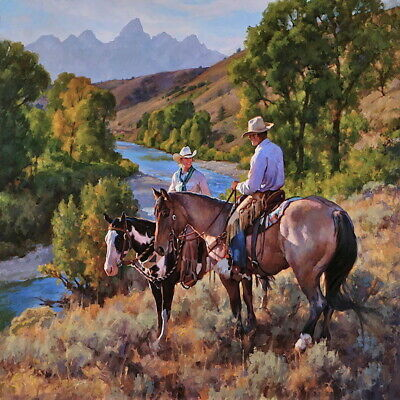 Cowboy in the Mountain Landscape Oil painting Art Giclee Printed on canvas P1427