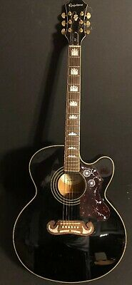 Epiphone EJ-200CE BK Black Acoustic Electric Guitar pearl inlay e-sonic