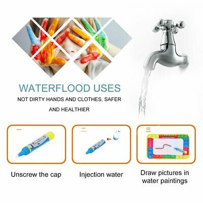 Kids Write Draw Paint Water Canvas Magic Doodle Mat With Pen Brushes 29*19Cm 7E