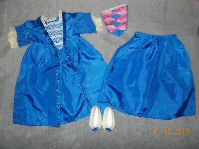 American Girl Doll FELICITY's Holiday Christmas Gown Outfit blue dress shoes