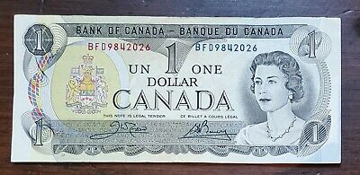 1973 $1 Canadian Bank Note Bill Crow/Bouey Good Condition Bank of Canada