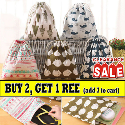 Home Cotton Linen Drawstring Storage Bag Toy Shoes Laundry Organizer Pouch NA