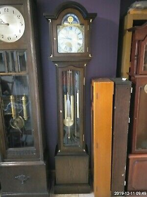 Longcase Grandfather 8 Day Clock with triple chimes and moonphase
