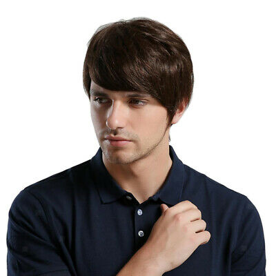 25cm Stylish Men's Short Straight Wig Heat Friendly Human Hair Wig for Party