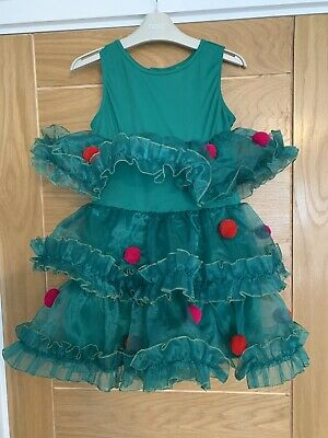 Girls Green Christmas Tree Party Dress Drom H&M - Age 8 Years