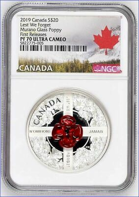 2019 $20 Canada 1Oz Silver Proof Ngc Pf70 Murano Glass Poppy Lest We Forget - Fr