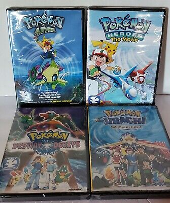 DVD Lot- Pokemon: Heroes, Destiny Deoxys, Wish Maker & 4Ever (All New!) Kids