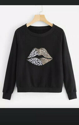 New Black Leopard Animal Print Lips Long Sleeved Jumper Sequin  Top Large 12-14