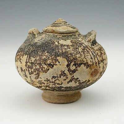 Antique Khmer Cambodian Oriental Pottery - Ancient Lidded Pot - Unusual!