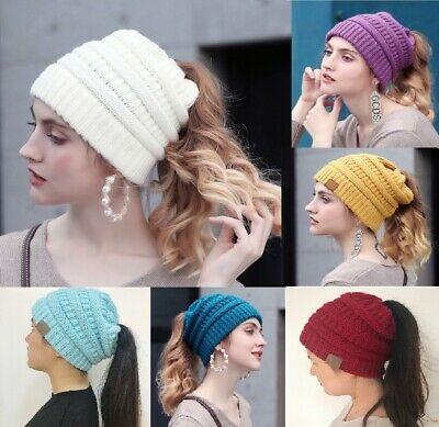 Warm Elastic Knitted Women Winter Hats With Hole For Tail