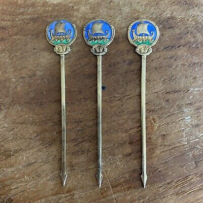 3 Norwegian Thune 925 Silver Gold Tone Hors d'oeuvres Picks Viking Ship Enamel