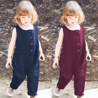 2-11Y Baby Girls 100%Cotton Jumpsuit Kids Sleeveless Harem Pants Romper Overall