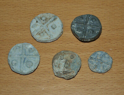 Five Antique GB Medieval Lead Tokens, Crosses & Dots, Unusual Smiley Face