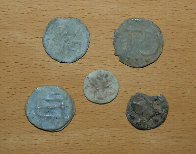 Five Antique GB Medieval Lead Tokens, Unusual Markings. Insect / Ant?