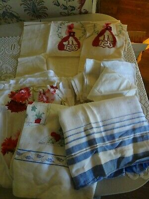 Vintage Mid century modern table cloth napkin pillowcase linen cutter lot as is