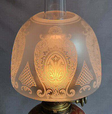 Victorian Crystal Etched Glass Kerosene Paraffin Duplex Oil Lamp Beehive Shade