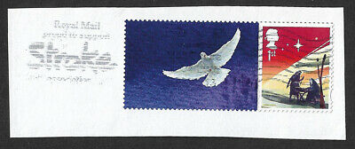 GB 2015 Christmas 1st class stamp ex.Smilers sheet with label used on piece.